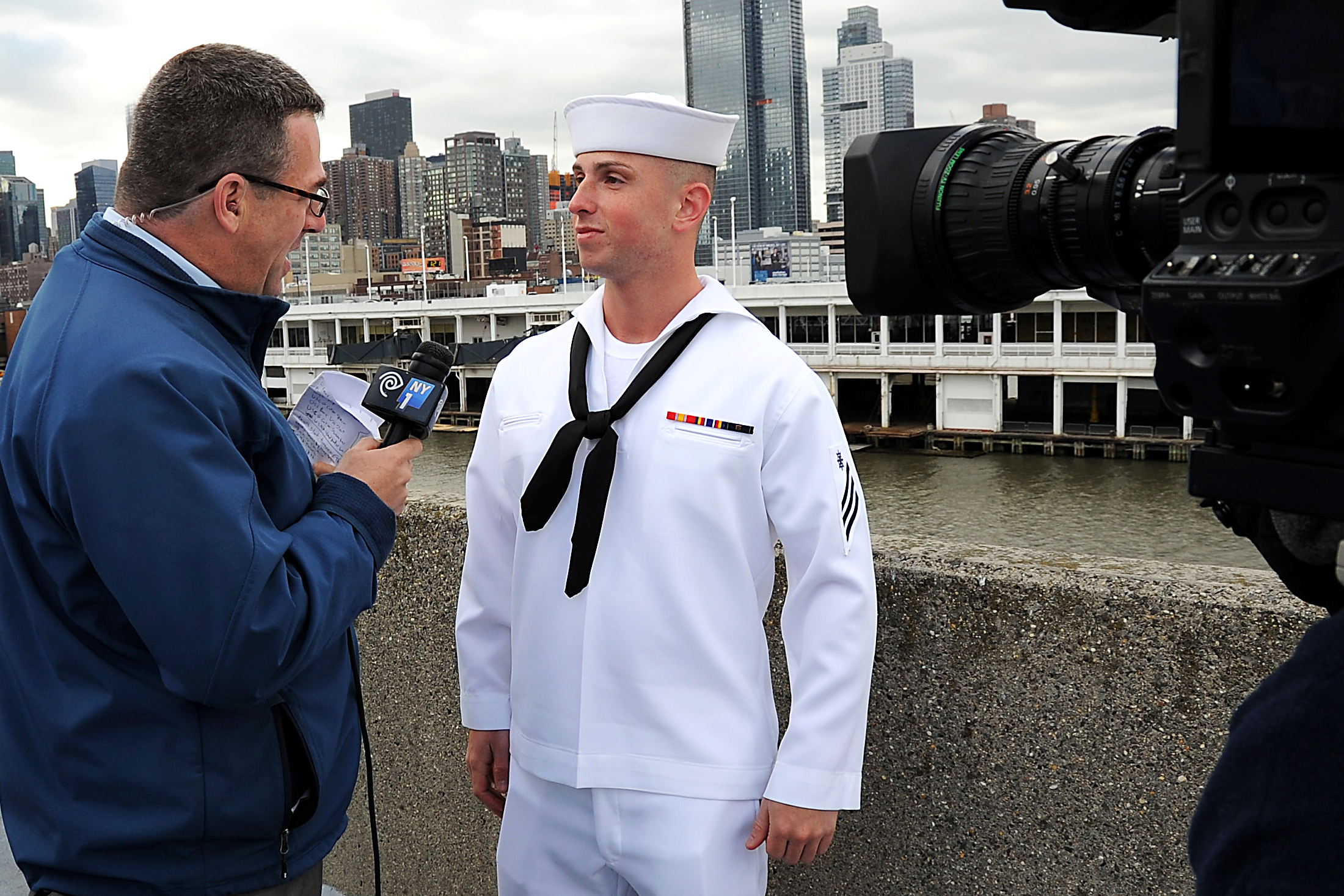us navy seaman daniel costa speaks with a news reporter from new york 1 about what