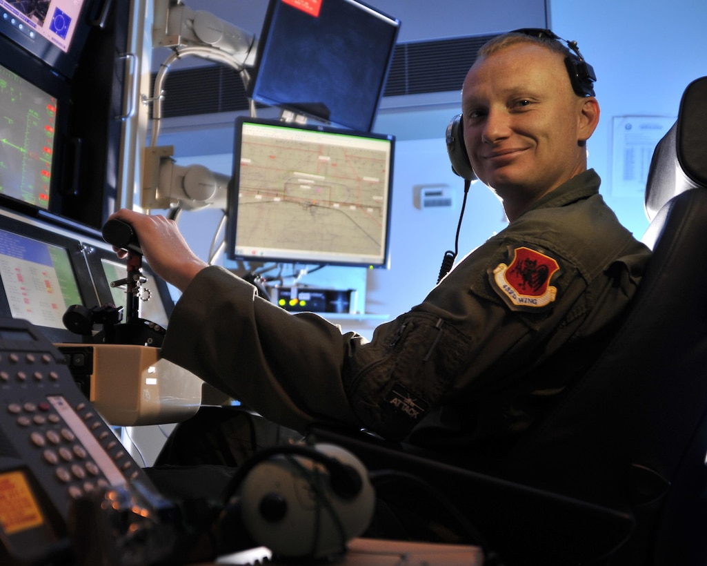 "Staff Sgt. Marion is a 42nd Attack Squadron sensor operator at Creech Air Force Base, Nev. Marion was recognized by Air Force leadership for constructing a device dubbed ""Frankenphone 3.5 Ultra High Definition,"" which simplifies life in the ground control station while flying remotely piloted aircraft, allowing operators to seamlessly execute the mission and save lives. (U.S. Air Force photo/Airman 1st Class Christian Clausen)"