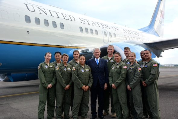 Members of the Defense Attaché Office at the U.S. Embassy Singapore, along with aircrew assigned to the 65th Airlift Squadron at Joint Base Pearl Harbor-Hickam, Hawaii, and members of Detachment 2, 730th Air Mobility Squadron, Singapore, provided support to an official U.S. delegation led by former President Bill Clinton following the passing of Singapore's founding father, Lee Kuan Yew.  Singapore is a key partner of the U.S. and the professionalism of these Airmen furthered the relationship between the two countries.  Whether in the Pacific or around the world, international Airmen are building, sustaining and furthering relationships with foreign partners and allies critical to achieving foreign policy objectives. (Courtesy photo)