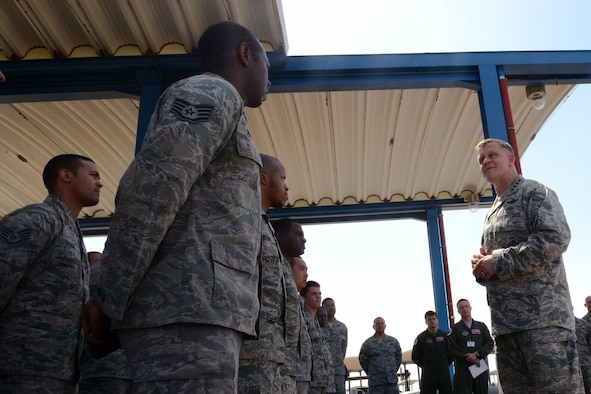 U.S. Air Force Gen. Frank Gorenc, United States Air Forces in Europe – Air Forces Africa commander, speaks with Airmen at Ben Guerir Air Base, Morocco, May 20, 2015. Gorenc talked about continued innovation and building partnerships with allies. The Airmen are part of Exercise African Lion. African Lion is the largest Department of Defense exercise in Africa and this marks the first year the U.S. Air Force has participated. (U.S, Air Force photo by Staff Sgt. Eboni Reams/Released)