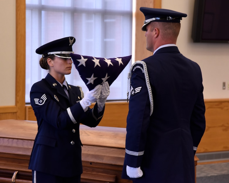 Airmen of the 127th Wing Honor Guard participate in a training course at Selfridge Air National Guard Base, Mich., May 15, 2015. The Selfridge Honor Guard renders final honors at the funerals of about 300 Air Force veterans every year in the Detroit area. The honor guard also participates in many military ceremonies on the base and in the community every year. (U.S. Air National Guard photo by Terry Atwell)