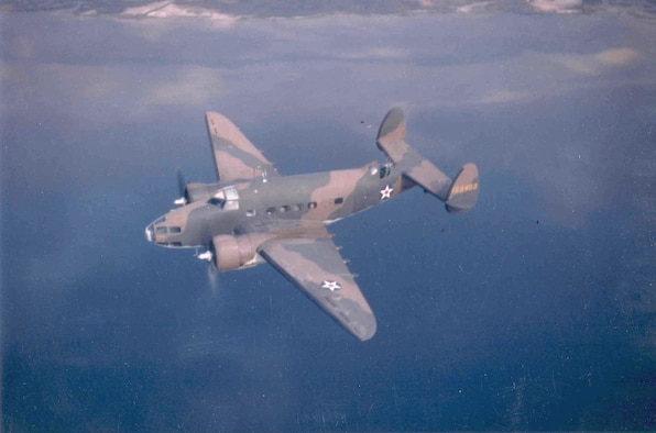 A U.S. Army Air Forces Lockheed A-29, serial number 41-23403, is seen here in flight over the ocean in this picture taken sometime in the early period of World War II.  The camouflage scheme and colors on this former Lend-Lease contracted aircraft are of British origin.  In May, 1942, instructions were issued to remove the red circle in the middle of the national insignia on all US aircraft.  (USAF Photo)