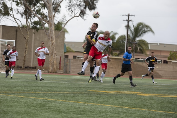 U.S. Armed Forces men's soccer teams compete in the 2015 Armed Forces Men's Soccer Championship at the Miramar Sports Complex aboard Marine Corps Air Station Miramar, San Diego, Calif., May 14, 2015. The Armed Forces Champions are conducted by the Armed Forces Sports Council for the purpose of promoting understanding, good will and competition among the Armed Forces. (U.S. Marine Corps photo by Lance Cpl. Travis Jordan/Released)