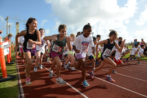 Children begin the America's Kids Run May 25, 2015, at Andersen Air Force Base, Guam. Approximately 100 children and adults participated in the run in connection with Armed Forces Day activities. (U.S. Air Force photo by Airman 1st Class Joshua Smoot/Released)