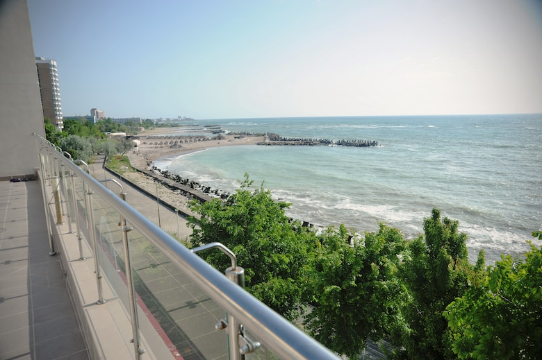 The view of the Black Sea from the newly-renovated Pavilion C of the Mangalia City Hospital, Romania, May 20, 2015. The project is a part of U.S. European Command's (EUCOM) Humanitarian Civic Assistance Program (HCA). The EUCOM HCA program is designed to improve the host nation's critical infrastructure and the underlying living conditions of the civilian populace. (U.S. Air National Guard photo by Staff Sgt. Brandon Boyd 142nd Fighter Wing Public Affairs/Released)
