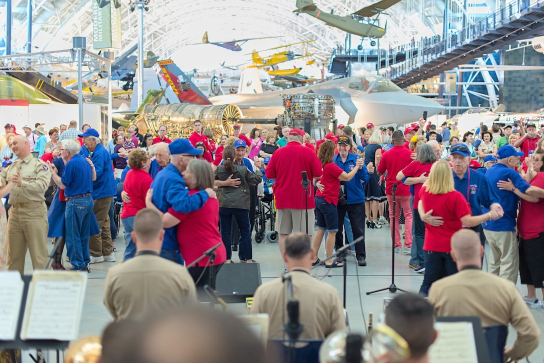 """The Airmen of Note honored veterans at the Smithsonian Air and Space Museum to commemorate the 70th anniversary of V-E Day.  They performed in authentic """"pinks and greens"""" and many from the crowd danced to familiar World War II-era music."""
