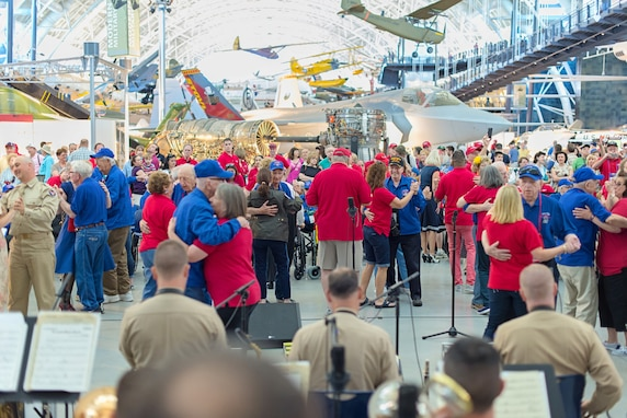 "The Airmen of Note honored veterans at the Smithsonian Air and Space Museum to commemorate the 70th anniversary of V-E Day.  They performed in authentic ""pinks and greens"" and many from the crowd danced to familiar World War II-era music."