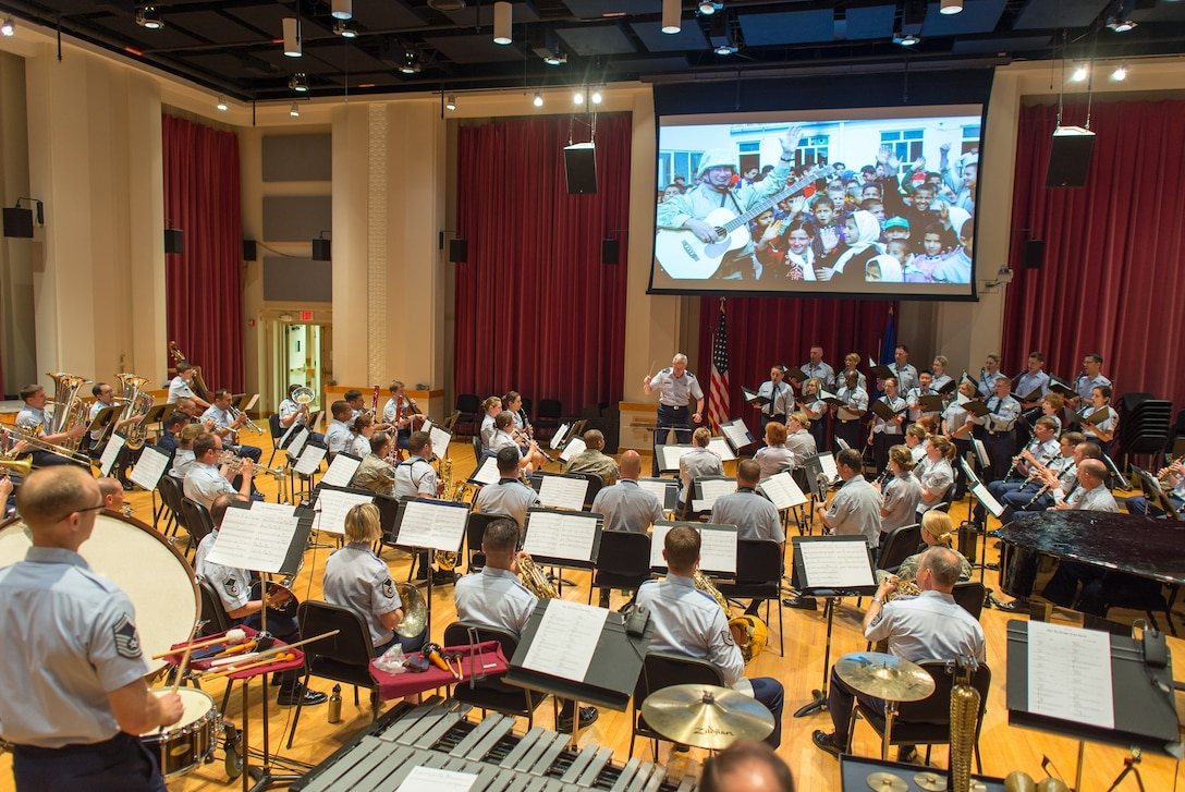 """Colonel Larry H. Lang lead the Air Force Concert Band and Singing Sergeants in a  performance of John William's """"Call of the Champions"""" for some distinguished visitors.  We love sharing our mission and capabilities with Air Force leadership from around the region."""