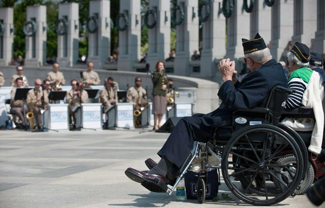 """The Airmen of Note performed at the World War II Memorial in Washington D.C. on May 8, 2015 commemorating the 70th anniversary of V-E Day.  The event was attended by hundreds of WWII veterans and representatives from 30 countries."""" (U.S. Air Force Photo/released)"""