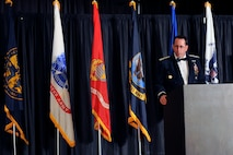 U.S. Air Force Maj. Gen. John N. T. Shanahan, Twenty-Fifth Air Force commander and guest speaker for the 2015 55th Wing Birthday Ball, speaks to patrons at the Embassy Suites ballroom in La Vista, Nebraska, May 16. The birthday ball is a formal celebration recognizing the wing's proud heritage as well as its current mission and role in the U.S. Air Force. (U.S. Air Force photo by Jeff W. Gates/Released)