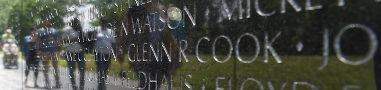 Air Force Capt. Glenn Cook's name is inscribed on Vietnam Veteran's Memorial in Washington, D.C., where the U.S. Air Force Honor Guard held a flag folding ceremony May 19, 2015. Cook's plane was shot down near Nha Trang, Vietnam, Oct. 21, 1969. His remains were never found. (U.S. Air Force photo/Senior Airman Joshua R. M. Dewberry)