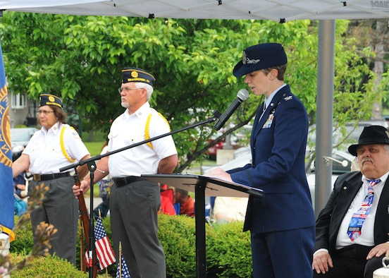 WRIGHT-PATTERSON AIR FORCE BASE, Ohio – Col. Leah Lauderback, National Air and Space Intelligence Center commander, speaks during a Memorial Day ceremony at Veterans Memorial Park in Beavercreek, Ohio, on Monday, May 25, 2015. Lauderback spoke about what Memorial Day means to the nation, honored families and friends who have lost loved ones, and paid special tribute to the service members lost since last Memorial Day. (U.S. Air Force photo by Staff Sgt. Marianne E. Lane)