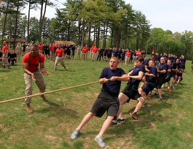 Poolees from Recruiting Substation Waterbury compete in a tug-of-war competition during the 2015 Annual Field Meet, at Dufresne Recreational Park, May 16. Approximately 465 newly enlisted men and women from across New England, to include; Western Massachusetts, Connecticut, and Rhode Island, attended the event. The annual Marine Corps event is designed to challenge the Poolees' physical fitness through various competitions and tests of endurance to ensure that they are prepared for the rigors of Marine Corps recruit training. (Official Marine Corps Photo by Staff Sgt. Richard Blumenstein)