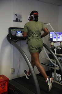 Lance Cpl. Courtney E. Milton, light armored vehicle crewman, LAV Platoon, Ground Combat Element Integrated Task Force, runs on a treadmill during a post-assessment physical evaluation at the University of Pittsburgh Human Performance Center, May. 27. Researchers with the university were looking for any possible changes since the last evaluation of ITF Marines. From October 2014 to July 2015, the GCEITF conducted individual and collective level skills training in designated ground combat arms occupational specialties in order to facilitate the standards-based assessment of the physical performance of Marines in a simulated operating environment performing specific ground combat arms tasks. (U.S. Marine Corps photo by Cpl. Paul S. Martinez/Released)