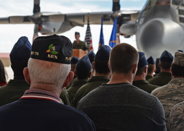 Many former members that flew or maintained AC-130H Spectre gunships gather at a retirement ceremony, May 26, 2015 at Cannon Air Force Base, N.M. As each campaign was acknowledged, the members were prompted to stand to be properly recognized for their efforts. (U.S. Air Force photo/Senior Airman Chip Slack)