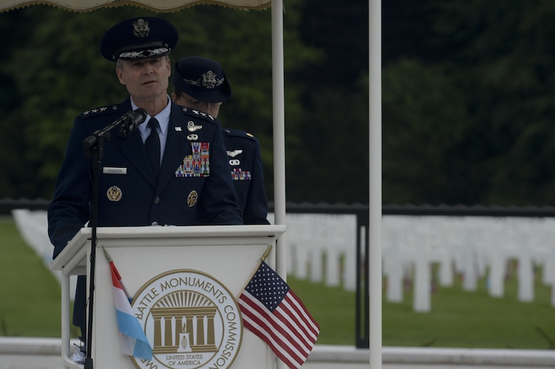 Lt. Gen. Darryl Roberson, the 3rd Air Force and 17th Expeditionary Air Force commander, speaks during a Memorial Day ceremony at the Luxembourg American Cemetery and Memorial May 23, 2015. The general also highlighted how this year's Memorial Day coincided with the 70th anniversary of the Allied victory in Europe during World War II. (U.S. Air Force photo/Staff Sgt. Joe W. McFadden)