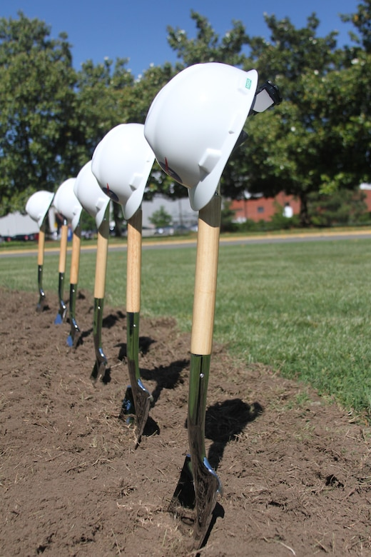HAMPTON, Va. -- Ceremonial shovels and hard hats stand on the site of the future NASA Computational Research Facility during a groundbreaking ceremony at NASA Langley Research Center May 22, 2015. The 40,000-square-foot center; the construction of which will be overseen by the Norfolk District, U.S. Army Corps of Engineers; will provide a consolidated data center and high-density office space. (U.S. Army photo/Kerry Solan)