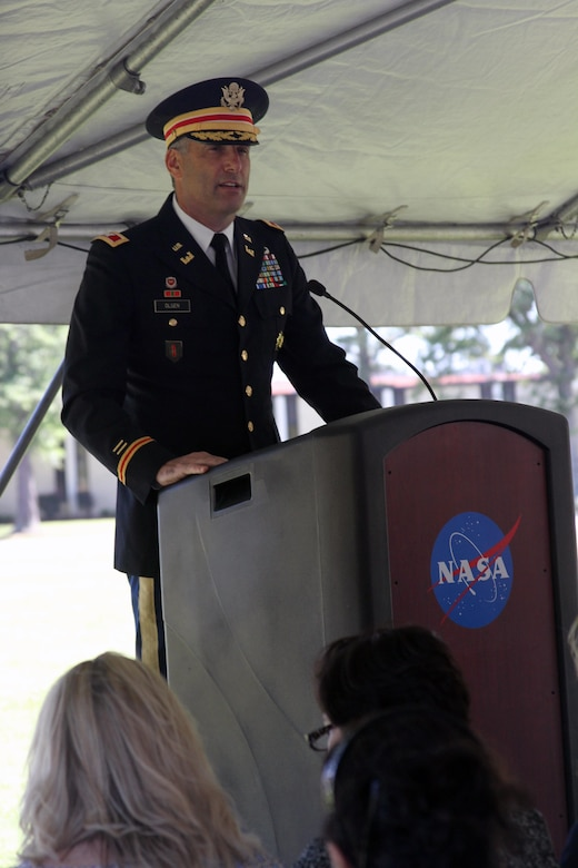HAMPTON, Va. -- Col. Paul Olsen; Norfolk District, U.S. Army Corps of Engineers commander, delivers remarks during the NASA Computational Research Facility groundbreaking ceremony at NASA Langley Research Center May 22, 2015. The 40,000-square-foot center; the construction of which will be overseen by the Norfolk District will provide a consolidated data center and high-density office space. (U.S. Army photo/Kerry Solan)