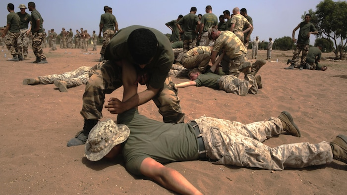 A Royal Moroccan Armed Forces soldier takes down a U.S. Marine while practicing techniques from a nonlethal-combative workshop during Exercise African Lion 15, May 15, in Tifnit, Morocco. The Royal Moroccan, U.S., U.K., Netherlands, and Belgian Armed Forces integrated while conducting peacekeeping support training to improve military capabilities and operational familiarity as one international coalition.