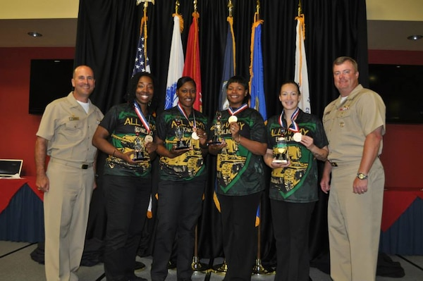 Army Women's gold medal team at the 2015 Armed Forces Bowling Championship held at NAS Jacksonville, Fla. from 11-18 May