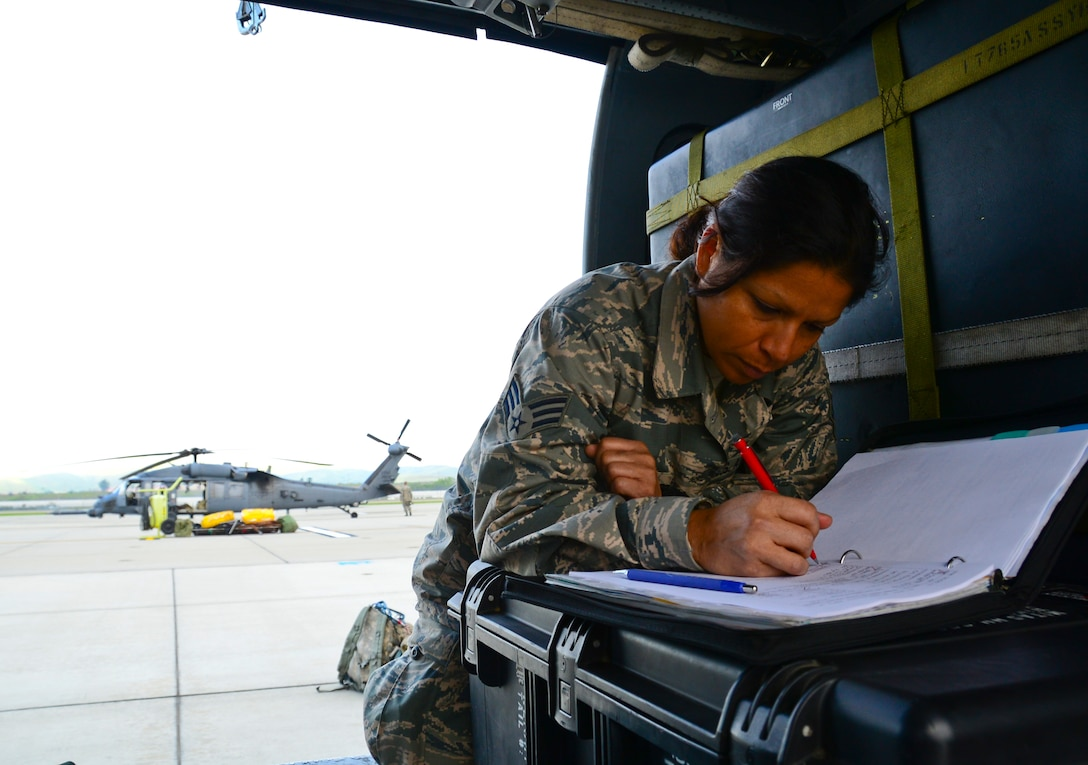 California Air National Guardsman Senior Airman Karlene Allen, an HH-60G Pave Hawk helicopter crewchief, assigned with the 129th Maintenance Group, assess preflight calculations during the multi-day deployment training at Marine Corps Base, Camp Pendleton, Calif., on March 10, 2015. Airman Allen annotates each reading to ensure continuity for each flight is correct. (U.S. Air National Guard photo by Rachael Kane/Released)