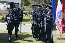 Members of the Nellis Air Force Base Honor Guard exit the Davis Funeral Homes