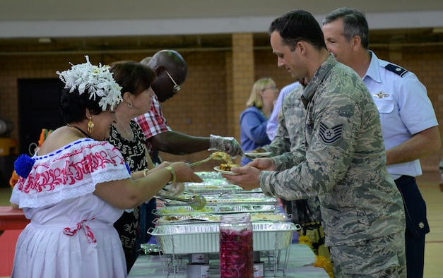 Chief Warrant Officer Jennings serves Latin American food samples at Unity Day May 21 at the 5th Regiment Armory in Baltimore. Unity Day has existed since 2006. (Photo by Airman 1st Class Enjoli M. Saunders/RELEASED)