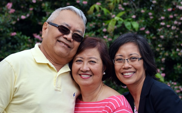 From left to right are Rudy and Sonia Delizo with daughter Monina Isaac.