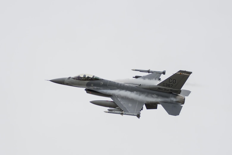 An F-16 Fighting Falcon from the Colorado Air National Guard's 120th Fighter Squadron returns home to Buckley Air Force Base, Colo., May 19, 2015, after a deployment to South Korea. (U.S. Air National Guard photo/Tech. Sgt. Wolfram M. Stumpf)