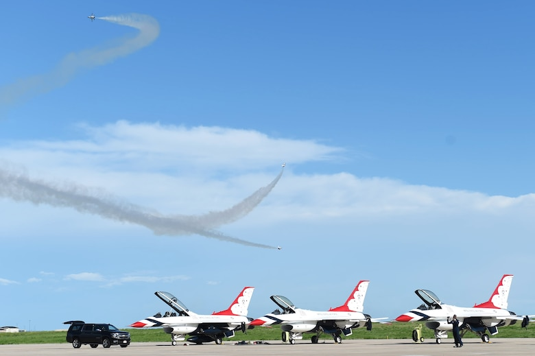 The Thunderbirds perform May 28, 2015, over the flight line on Buckley Air Force Base, Colo. The team is staging out of Buckley AFB and will be performing in the 2015 Rocky Mountain Air Show May 30-31. (U.S. Air Force photo by Airman 1st Class Samantha Meadors/Released)