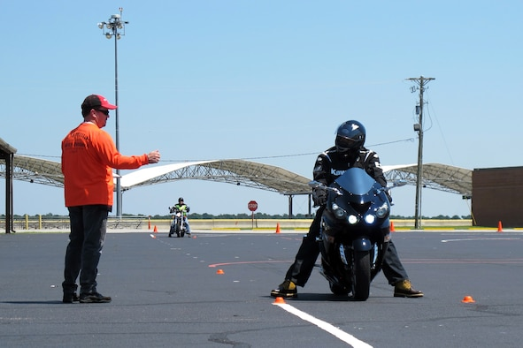U.S. Air Force Maj. Wade Rivers and Master Sgt. Gene Croft conducted motorcycle safety training 25-26 Aug, 2012. Carolina Honda loaned two Honda motorcycles to McEntire Joint National Guard Base, S.C., to use in the Motorcycle Safety Foundation course at no cost to the base. 