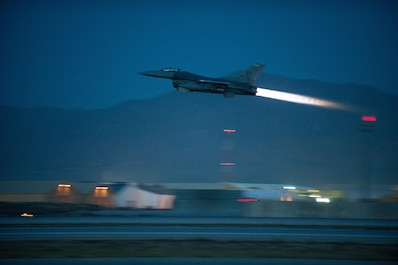 An F-16 Fighting Falcon aircraft assigned to the 555th Expeditionary Fighter Squadron from Aviano Air Base, Italy, takes off from Bagram Air Field, Afghanistan, May 23, 2015. The F-16 is a highly maneuverable, multi-role fighter aircraft that has proven itself in air-to-air and air-to-ground combat. (U.S. Air Force photo/Tech. Sgt. Joseph Swafford)