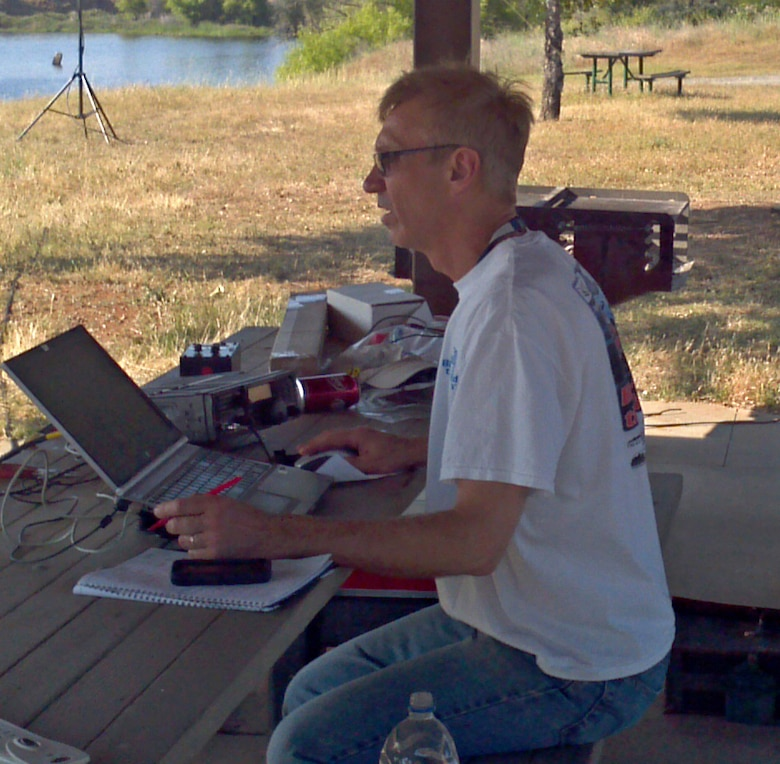 Steve Albrecht, Yuba-Sutter Amateur Radio Club member, monitors his radio equipment at Beale's Family Camp May 9, 2015, at Beale Air Force Base, California. Albrecht participated in the annual Armed Forces Cross band Communications Test with Tech. Sgt. Michael Sangria, 9th Aircraft Maintenance Squadron assistant first sergeant and YSARC member. This annual event gives amateur radio operators and shortwave listeners an opportunity to demonstrate their technical skills and to receive recognition from the appropriate military radio stations.  (Courtesy photo)