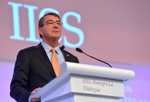 Defense Secretary Ash Carter delivers the keynote address to kick off the Shangri-La Dialogue in Singapore, May 30, 2015. Carter spoke of strengthening relations between Asia-Pacific nations and countered provocative land reclamation efforts by China.Also known as the Asia Security Summit, the dialogue aims to build confidence and fostering practical security cooperation among Asian nations. DoD Photo by Glenn Fawcett