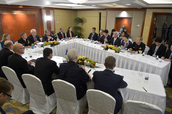 Defense Secretary Ash Carter hosts a meeting with Australia's Minister of Defense Kevin Andrews and Japan's Minister of Defense Gen Nakatani at the Shangri-La Dialogue in Singapore, May 30, 2015. DoD Photo by Glenn Fawcett