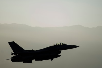 "Lt. Col. Michael Meyer, 421st Expeditionary Fighter Squadron commander, deployed from Hill Air Force Base, Utah, departs on a sortie from Bagram Airfield, Afghanistan, Oct. 30, 2015. Airmen assigned to the 421st Fighter Squadron, known as the ""Black Widows,"" from Hill Air Force Base, Utah, arrived here Oct. 28, 2015 in support of Operation Freedom's Sentinel and NATO's Resolute Support mission. (U.S. Air Force photo/Tech. Sgt. Robert Cloys/RELEASED)"