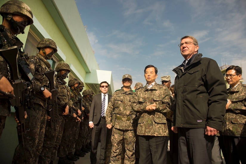 U.S. Defense Secretary Ash Carter and Republic of Korea Minister of Defense Minkoo Han visit the Demilitarized Zone in the Republic of Korea, Nov.1, 2015. Carter is visiting the Asia-Pacific region, where he will meet with leaders from more than a dozen nations to help advance the next phase of the U.S. military's rebalance in the region by modernizing longtime alliances and building new partnerships. Photo by Air Force Senior Master Sgt. Adrian Cadiz
