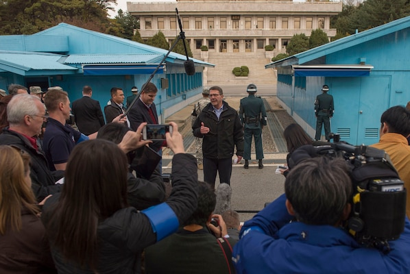 U.S. Defense Secretary Ash Carter speaks with reporters at the Demilitarized Zone in the Republic of Korea, Nov.1, 2015. Carter is visiting the Asia-Pacific region, where he will meet with leaders from more than a dozen nations to help advance the next phase of the U.S. military's rebalance in the region by modernizing longtime alliances and building new partnerships. Photo by Air Force Senior Master Sgt. Adrian Cadiz