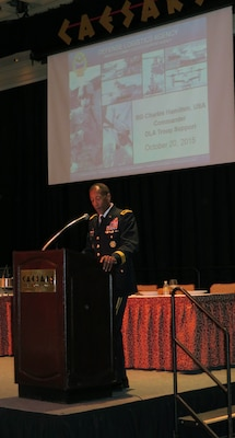 Brig. Gen. Charles R. Hamilton, U.S. Army, commander DLA Troop Support was the key note speaker for the R & DA fall 2015 meeting Oct. 20 in Atlantic City, New Jersey. Hamilton spoke about the future of military feeding, nutrition and strengthening partnerships with attendees.