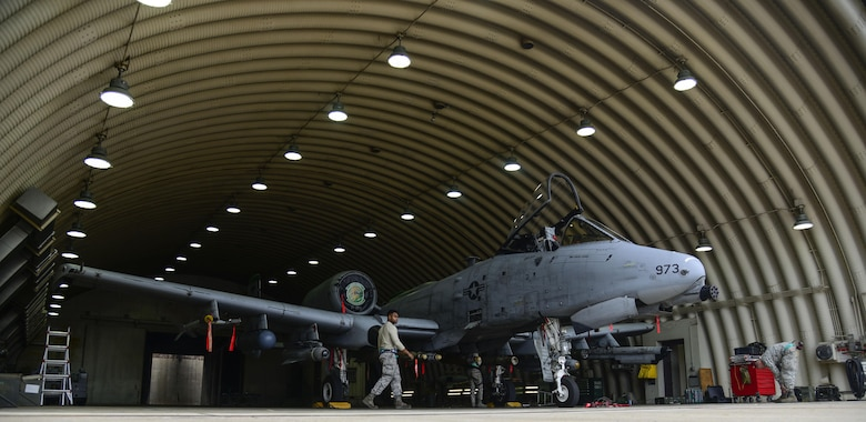 Airmen from the 25th Aircraft Maintenance Unit load munitions onto an A-10 Thunderbolt II during the Vigilant Ace 16 exercise on Osan Air Base, Republic of Korea, Nov. 1, 2015. Exercises such as this help test team Osan's ability to survive and operate in wartime constraints. The weapons Airmen from the 25th AMU are responsible for 10 varieties of conventional munitions that can be loaded onto the A-10 frame. (U.S. Air Force photo/Senior Airman Kristin High)