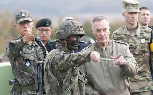 U.S. Marine Corps Gen. Joseph F. Dunford Jr., chairman of the Joint Chiefs of Staff, listens to a South Korean soldier brief him during a trip to the Demilitarized Zone in South Korea, Nov. 2, 2015 DoD photo by U.S. Navy Petty Officer 2nd Class Dominique A. Pineiro