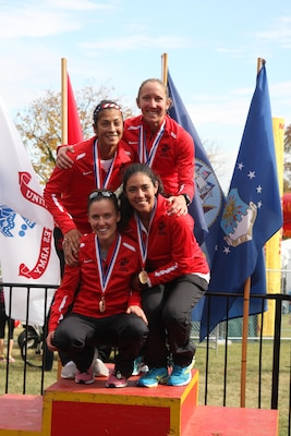 Marine Corps Women take Armed Forces Gold for the first time. Christine Taranto,2:53:30; Danielle Pozun, 3:01:06; Angelica Valdez, 3:05:39; Sara Pacheco, 3:10:15