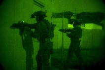Marines with Company C, 1st Marine Raider Battalion, U.S. Marine Corps Forces, Special Operations Command provide security during a night raid aboard Marine Corps Base Camp Pendleton, Calif., Oct. 8, 2015. Marine Special Operations Company C spent the first phase of their three-phase Company Collective Exercise practicing Foreign Internal Defense aboard Marine Corps Base Camp Pendleton, Calif., Oct. 5-8.