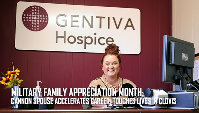 Jennifer Higareda, master level social worker and Air Force spouse, sits at the front desk Oct. 14, 2015 at the Gentiva Hospice at Clovis, N.M. Since arriving at Cannon Air Force Base, N.M., from Florida more than six years ago, Higareda earned her licensure as a master level social worker and cultivated lasting personal and professional friendships within the local community. (U.S. Air Force photo/Staff Sgt. Whitney Amstutz)