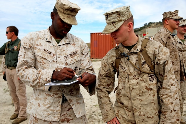 Marines with Headquarters and Service Company, 1st Battalion, 5th Marine Regiment, 1st Marine Division, discuss possible threats within the area during searchers and site exploitation training aboard Marine Corps Base Camp Pendleton, Calif., Oct. 27-29, 2015. The three-day training period provided 1/5 personnel with instruction on how to identify threats within a designated area and conduct systematic searches using appropriate detection equipment. (U.S. Marine Corps photo by Cpl. Demetrius Morgan/RELEASED)