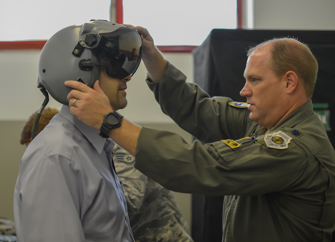 U.S. Ambassador to Israel, Daniel Shapiro, is fitted for aircrew flight