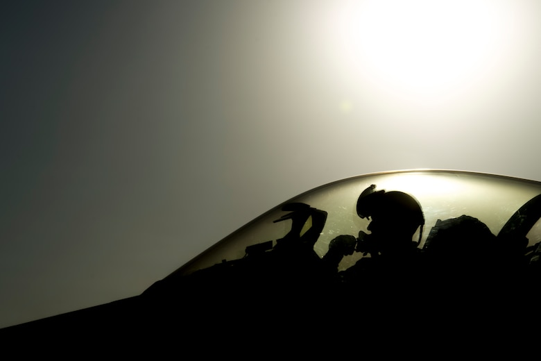 "Lt. Col. Michael Meyer, 421st Expeditionary Fighter Squadron commander, deployed from Hill Air Force Base, Utah, performs pre-flight checks on an F-16 Fighting Falcon at Bagram Airfield, Afghanistan, Oct. 30, 2015. Airmen assigned to the 421st FS, known as the ""Black Widows,"" arrived here Oct. 28, 2015 in support of Operation Freedom's Sentinel and NATO's Resolute Support mission. (U.S. Air Force photo/Tech. Sgt. Robert Cloys/Released)"