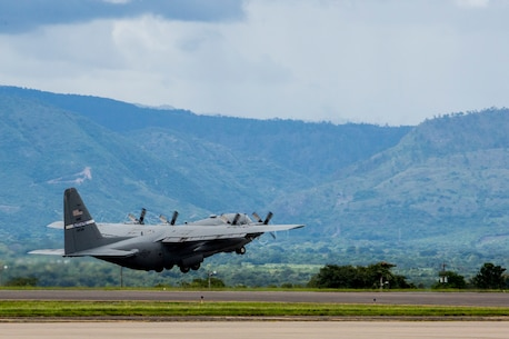 A C-130 Hercules, carrying approximately 20 U.S. Marines, takes off from Soto Cano Air Base, Honduras, Oct. 15, 2015. This will be the first group of Marines to redeploy back to the states. SPMAGTF-SC is a temporary deployment of Marines and sailors throughout Honduras, El Salvador, Guatemala, and Belize with a focus on building and maintaining partnership capacity with each country through shared values, challenges and responsibility. (U.S. Marine Corps photo by Sgt. Andy J. Orozco/Released)