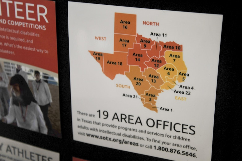 A map at the Special Olympics booth shows the 19 Area Offices for Texas during the Volunteer Fair at the Carswell Field House on Goodfellow Air Force Base, Texas, Oct. 28, 2015. Each area has its own activities with San Angelo being in Area 14. (U.S. Air Force photo by Airman Chase Sousa/Released)
