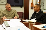 (From left) Marine Corps Sgt. Maj. Bryan Battaglia talks with Army Command Sgt. Major Charles Tobin, the Defense Logistics Agency's senior enlisted leader, during an Oct. 20 visit to the Pentagon. Photo by Army Master Sgt. Terrence Hayes